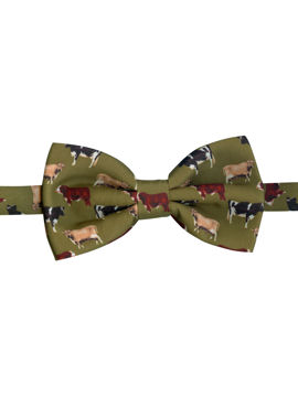 COWS on Green Silk Bow Tie