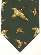 Mallards flying on green - TIE STUDIO
