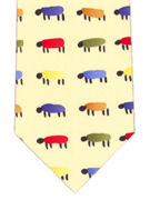 Sheep - Colourful sheep on yellow - TIE STUDIO